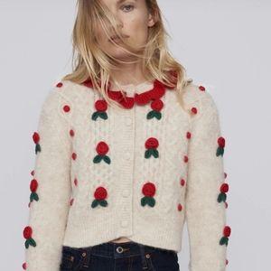 Zara Limited Edition Floral KNIT Cardigan